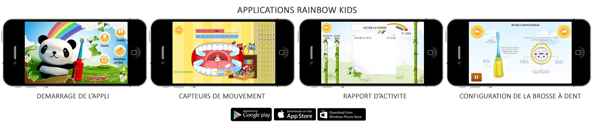 Brosse àdents connecté Rainbow Kids de vigilant application mobile